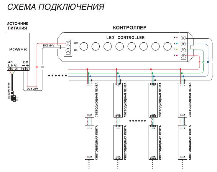 схема подключения питания диодной ленты